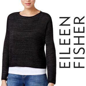 Eileen Fisher Silk Linen Crop black white Sweater